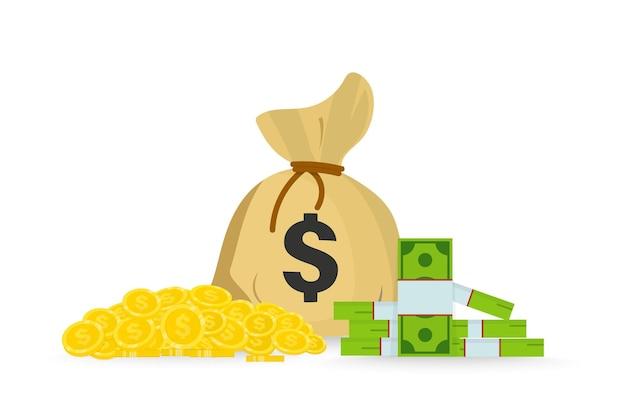 Worek pieniędzy, na którym znak dolara. banknoty dolarów. pieniądze gotówkowe, kilka monet. worek pieniędzy, stos pieniędzy, paczki dolarów