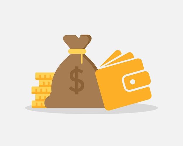 Worek pieniędzy obok monet i portfela na białym tle. oszczędności finansowe. wektor eps 10