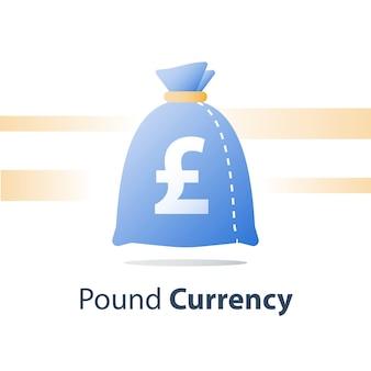 Worek pieniędzy, worek waluty funta, szybka pożyczka, łatwa gotówka, fundusz finansowy, ikona