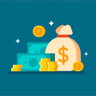 Worek pieniędzy z gotówką i monetami