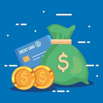 Worek pieniędzy z kartą kredytową i monetami