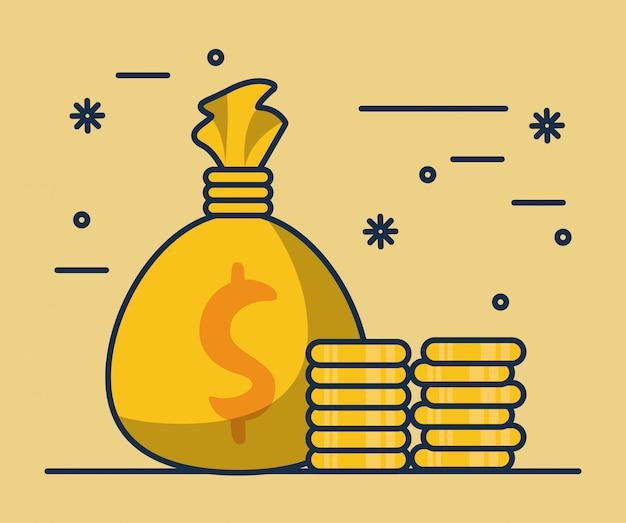 Worek pieniędzy z monet dolarów