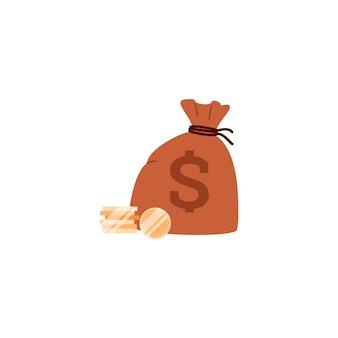 Worek pieniędzy ze stosami złotych monet płaskich ilustracji wektorowych na białym tle