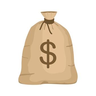 Worek pieniędzy ze znakiem dolara w stylu cartoon