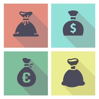 Worek pieniędzy, zestaw kolorowych przycisków, ilustracji wektorowych