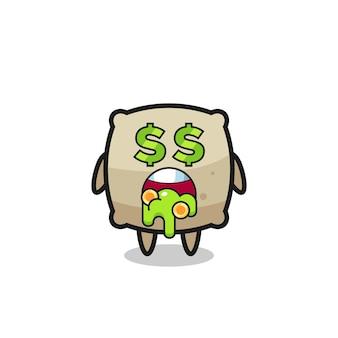 Worek postaci z wyrazem szaleństwa na punkcie pieniędzy, ładny styl na koszulkę, naklejkę, element logo