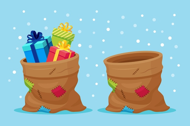 Worek świętego mikołaja w pudełku prezentowym. świąteczny worek pełen prezentów
