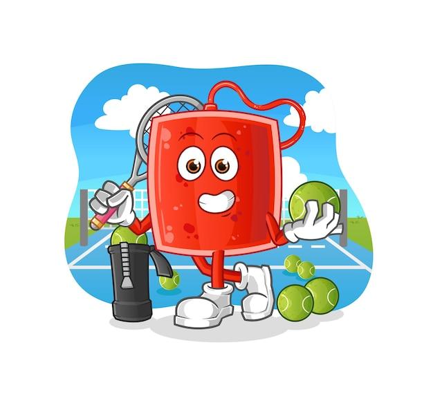 Worek z krwią odgrywa ilustrację do tenisa. postać