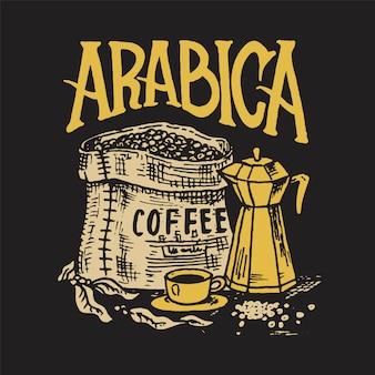 Worek ziaren kawy. logo i emblemat dla sklepu. ziarna kakao, filiżanka napoju. vintage odznaka retro. szablony do t-shirtów, typografii czy szyldów. ręcznie rysowane grawerowany szkic.