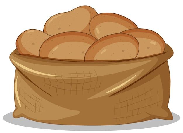 Worek ziemniaków w stylu kreskówki na białym tle