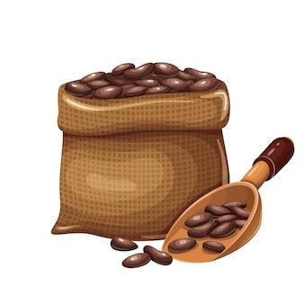 Worek zmielonego kakao z ilustracją kreskówki drewnianą łyżką do projektowania reklamy czekolady