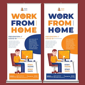 Work from home promotion roll up banner print template w flat design style
