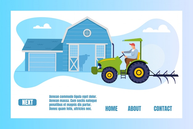 Worker driving tractor, agricultural products, landing page