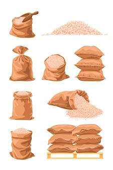 Worki tekstylne pełne ryżu ilustracja kreskówka