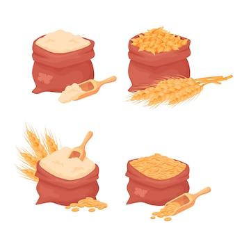 Worki z pszenicy, ziarna jęczmienia i mąki, nasiona pszenicy w woreczku z drewnianą gałką na białym tle. zestaw naturalnych elementów żywności dla rolnictwa w stylu kreskówkowym,