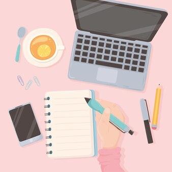 Workspace office ręka z piórem laptop papierowy telefon i filiżankę herbaty, ilustracja projekt widok z góry