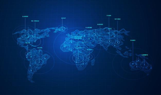 World big data, mapa świata z punktami