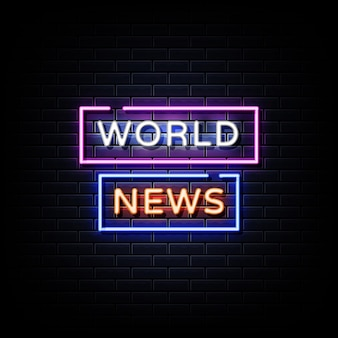 World news neon signs style text