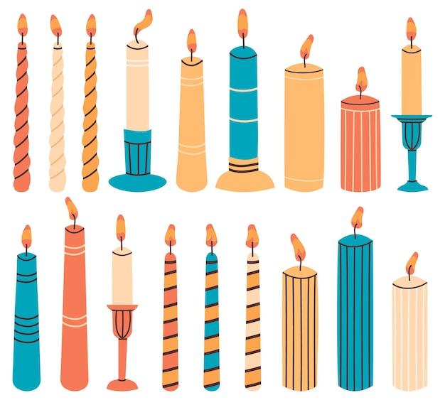 Wosk świece ręcznie rysowane zestaw ilustracji ozdobnych świec
