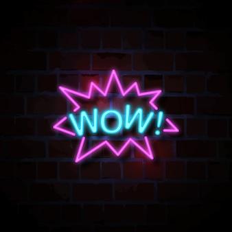Wow ilustracja neon znak