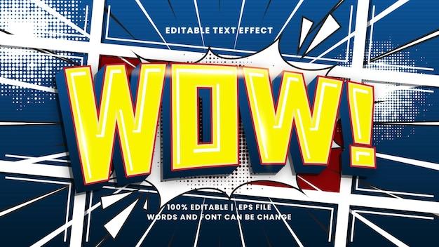 Wow komiks edytowalny efekt tekstowy z kreskówkowym stylem tekstu