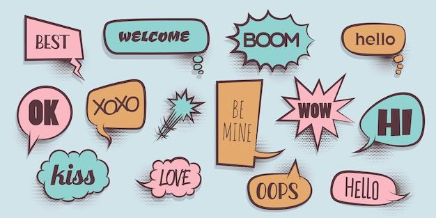Wow miłość xoxo bang boom wygraj hej ustaw komiks dymek słowo kreskówka wyrażenie