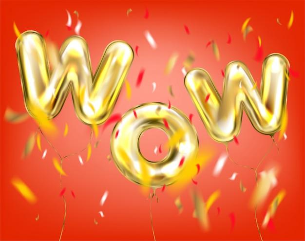 Wow napis przez złote balony w kolorze czerwonym