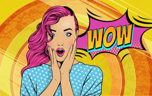 Wow pop-artu seksowna dziewczyna komiks