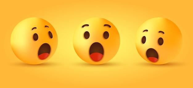Wow, zaskoczona twarz emoji dla reakcji w mediach społecznościowych