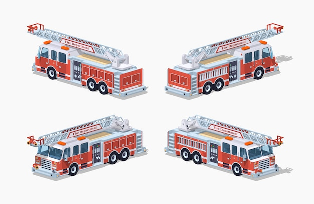 Wóz strażacki low poly