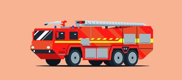Wóz strażacki na białym tle. ilustracja płaski.