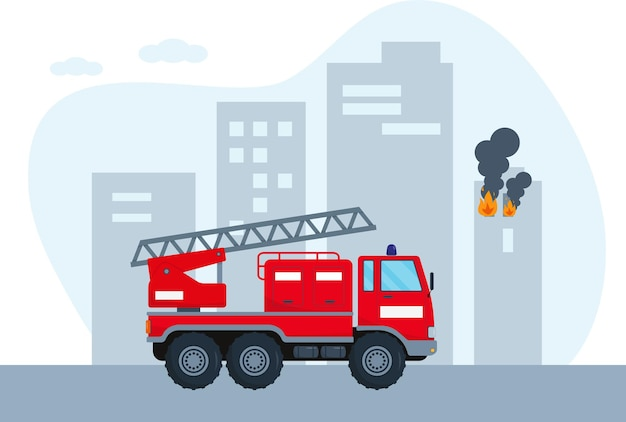 Wóz strażacki pędzi do ognia w mieście. koncepcja pojazdu służb ratowniczych. czerwony wóz strażacki.