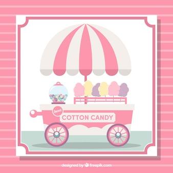 Wóz z cukierków bawełnianych z parasolem