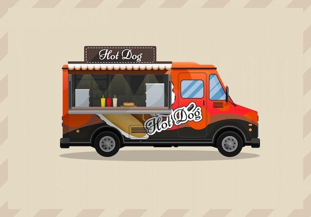 Wózek do hot dogów, kiosk na kółkach, detaliści, szybkie śniadanie przekąskowe
