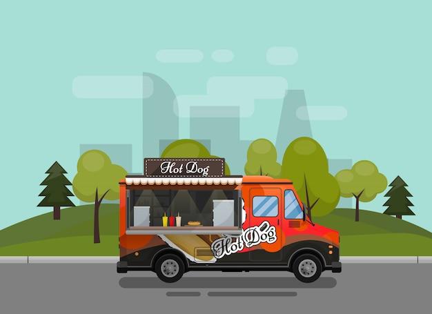 Wózek do hot dogów, kiosk na kółkach, detaliści, szybkie śniadanie z przekąskami