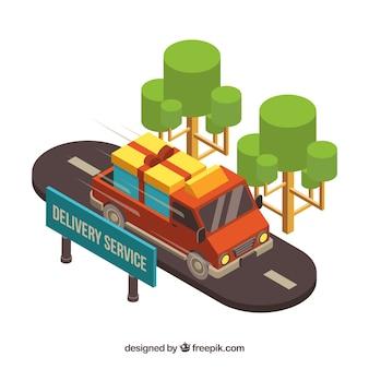 Wózek dostawczy na drodze z izometrycznym stylem