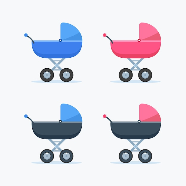 Wózek Dziecięcy Dla Chłopca I Dziewczynki. Odosobniony Darmowych Wektorów