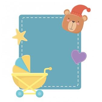 Wózek dziecięcy i miś
