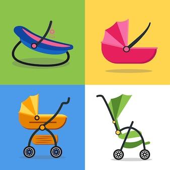 Wózek dziecięcy zestaw na tle.