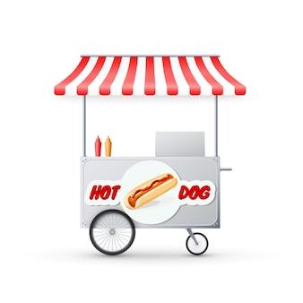 Wózek hot dog z markizą. targ uliczny fast food. kupuj na kółkach.