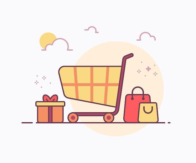 Wózek koncepcyjny na zakupy wokół ikony torby na prezent z pudełkiem na prezenty z delikatną kolorową ilustracją w stylu linii ciągłej