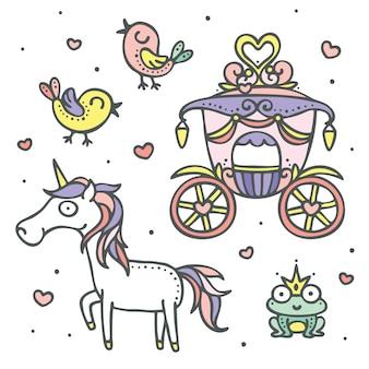 Wózek księżniczki, jednorożec, ptaki miłości i element bajki książę żaby