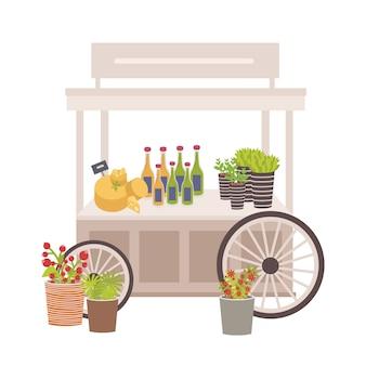 Wózek na kółkach, targowisko lub lada z serem, butelkami i metkami z cenami. miejsce sprzedaży produktów spożywczych na lokalnym targu rolników ozdobionym roślinami doniczkowymi. płaska ilustracja kolorowy.