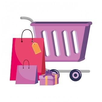Wózek na zakupy i toreb ikony ilustracja