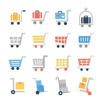 Wózek na zakupy płaski zestaw ikon