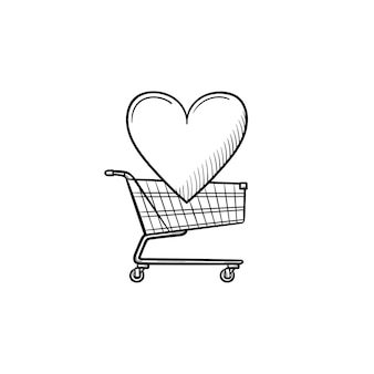 Wózek na zakupy z sercem ręcznie rysowane konspektu doodle ikona. supermarket, ulubione towary, sprzedaż, koncepcja biznesowa