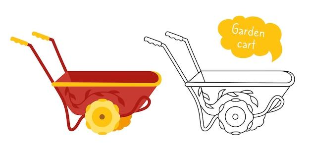 Wózek ogrodowy kreskówka zestaw czarna linia ikona narzędzie taczki