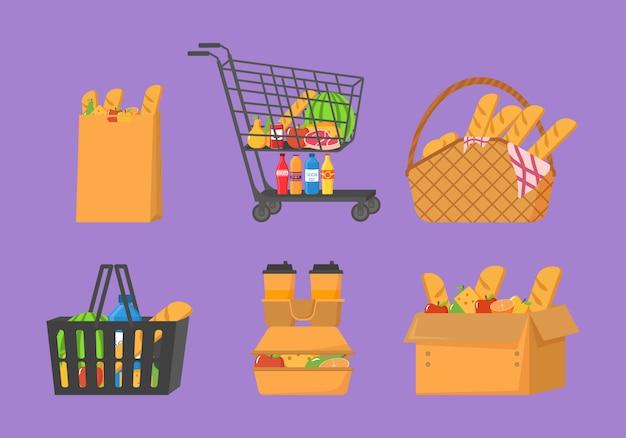 Wózek sklepowy pełen żywności, owoców, produktów i artykułów spożywczych. sklep spożywczy, supermarket. koszyk ze świeżą żywnością i napojami. zestaw świeżego, zdrowego i naturalnego produktu.