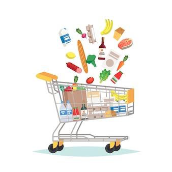 Wózek spożywczy supermarketu z różnymi artykułami spożywczymi
