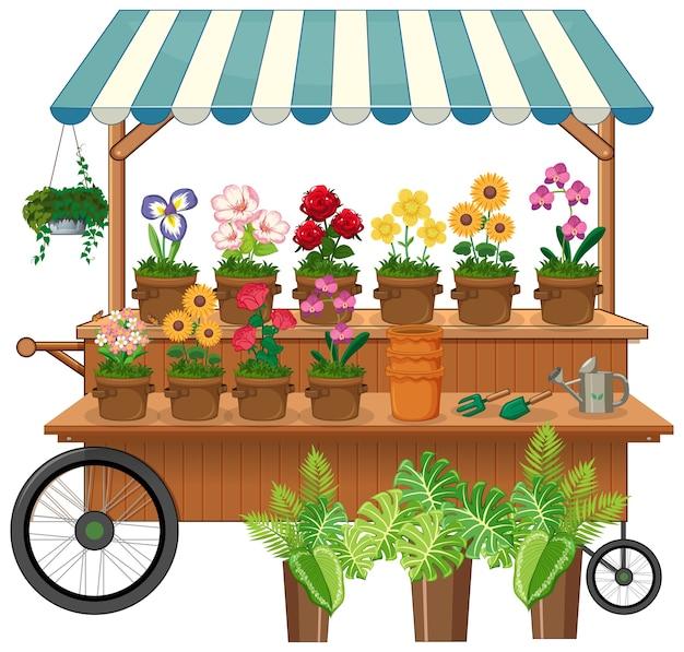 Wózek sprzedawcy na białym tle kwiatów